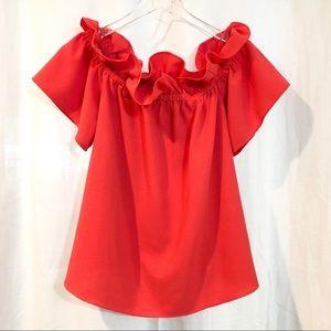 Rachel Roy / off the shoulder ruffle blouse